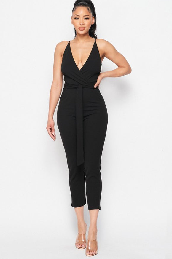 Waist Tie Sleeveless Jumpsuit