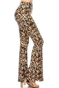 Bell Bottom Leggings Brown Leopard