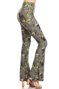 Bell Bottom Leggings Grey Flower