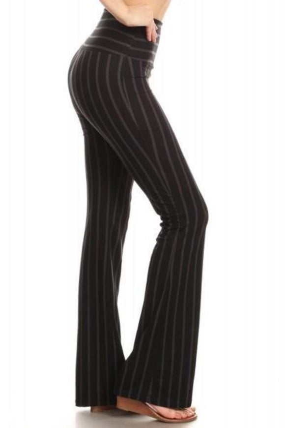 Bell Bottom Leggings Black Pin Stripe