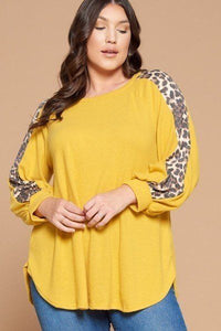 Plus Size Solid Hacci Brush Tunic Top
