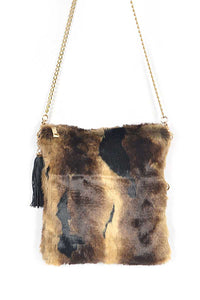Tiger Print Fur Foldable Clutch