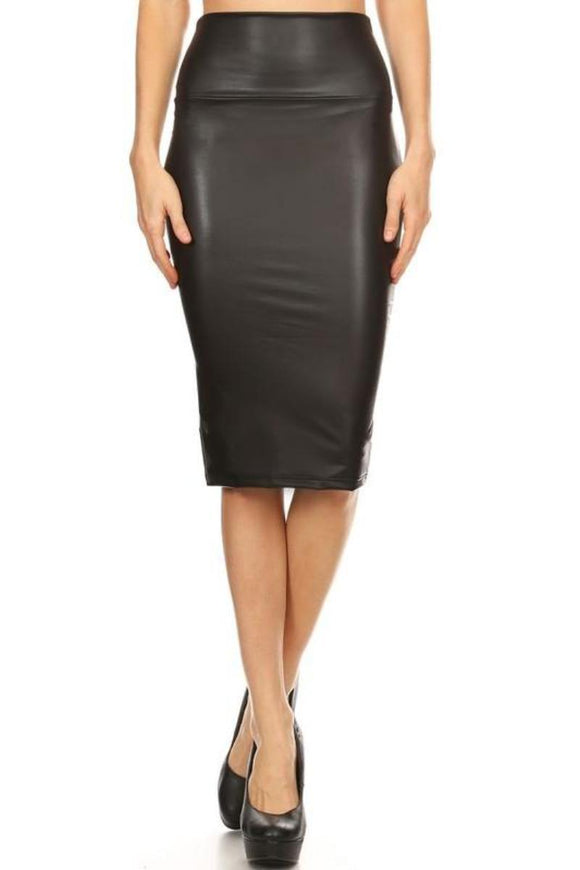 Faux Leather Pencil Skirt Black