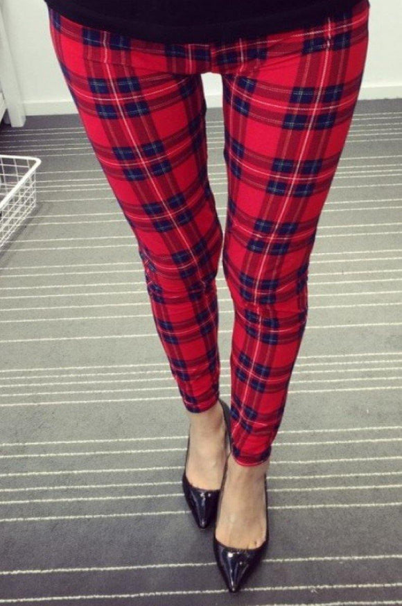 Buttery Soft One Size Printed Leggings Lovely Plaid - London Poppy Store
