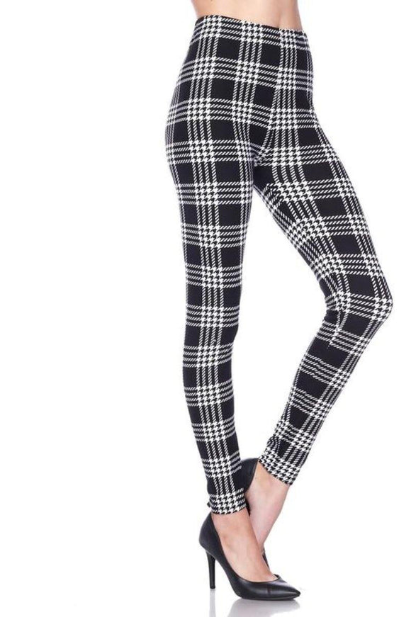 Buttery Soft One Size Printed Black & White Plaid - London Poppy Store