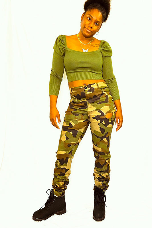 Stacked Distressed Camouflage Pants