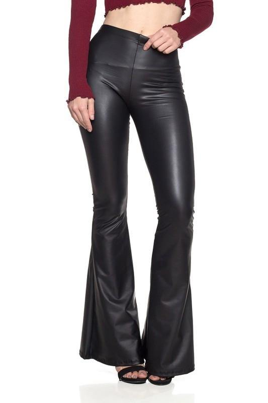 Faux Leather Bell Bottoms - London Poppy Store