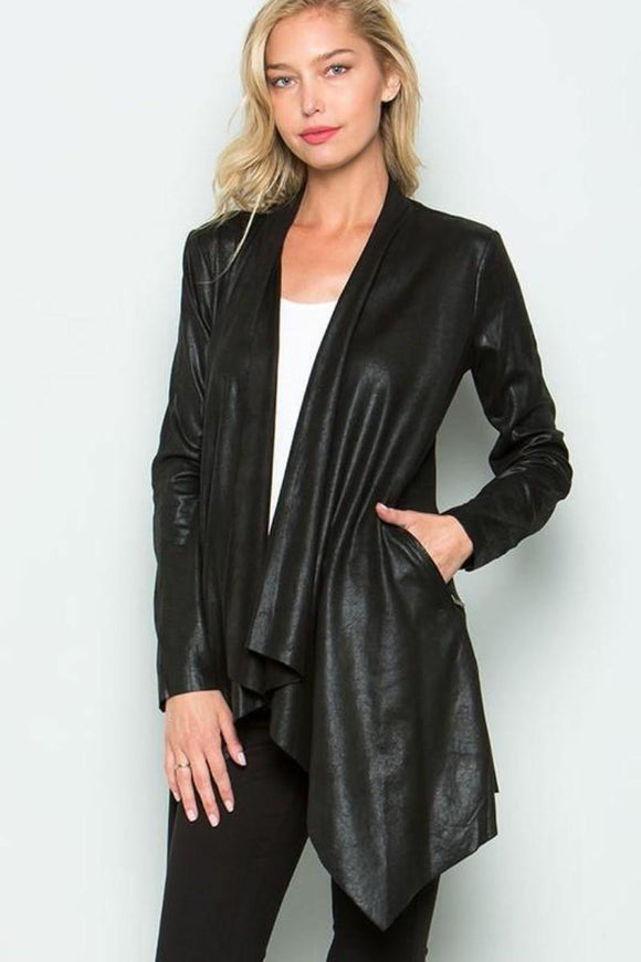 Black Faux Leather Cardigan Asymmetrical Hem