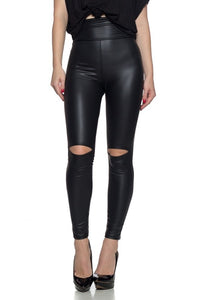 High Waisted Distressed Faux Leather Leggings