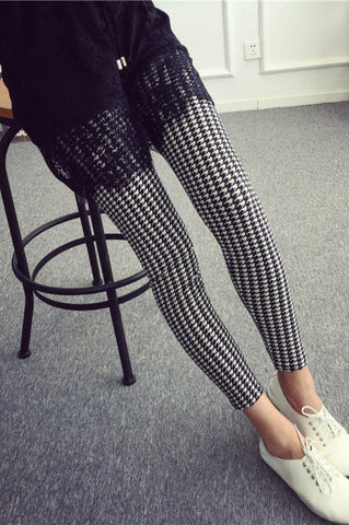 Buttery Soft Printed Leggings Houndstooth