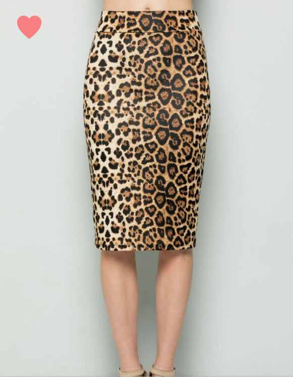Leopard Pencil Skirt Black