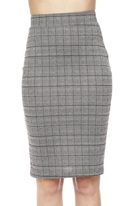 Plaid Pencil Skirt Black & White