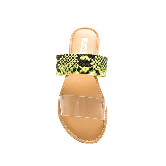 Qupid Clear Neon Sandals