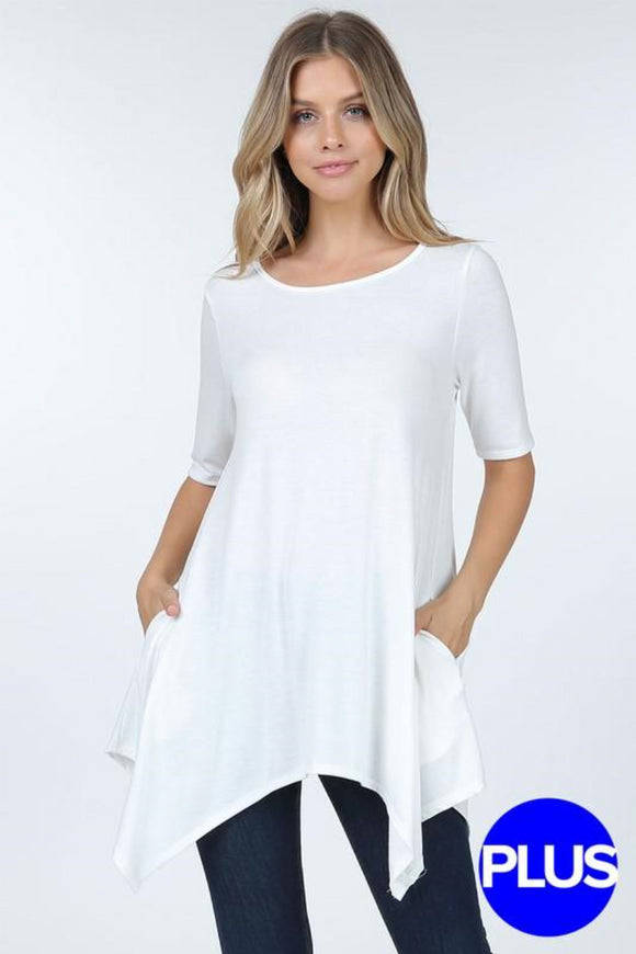 Tunic top short asymmetrical hem Plus