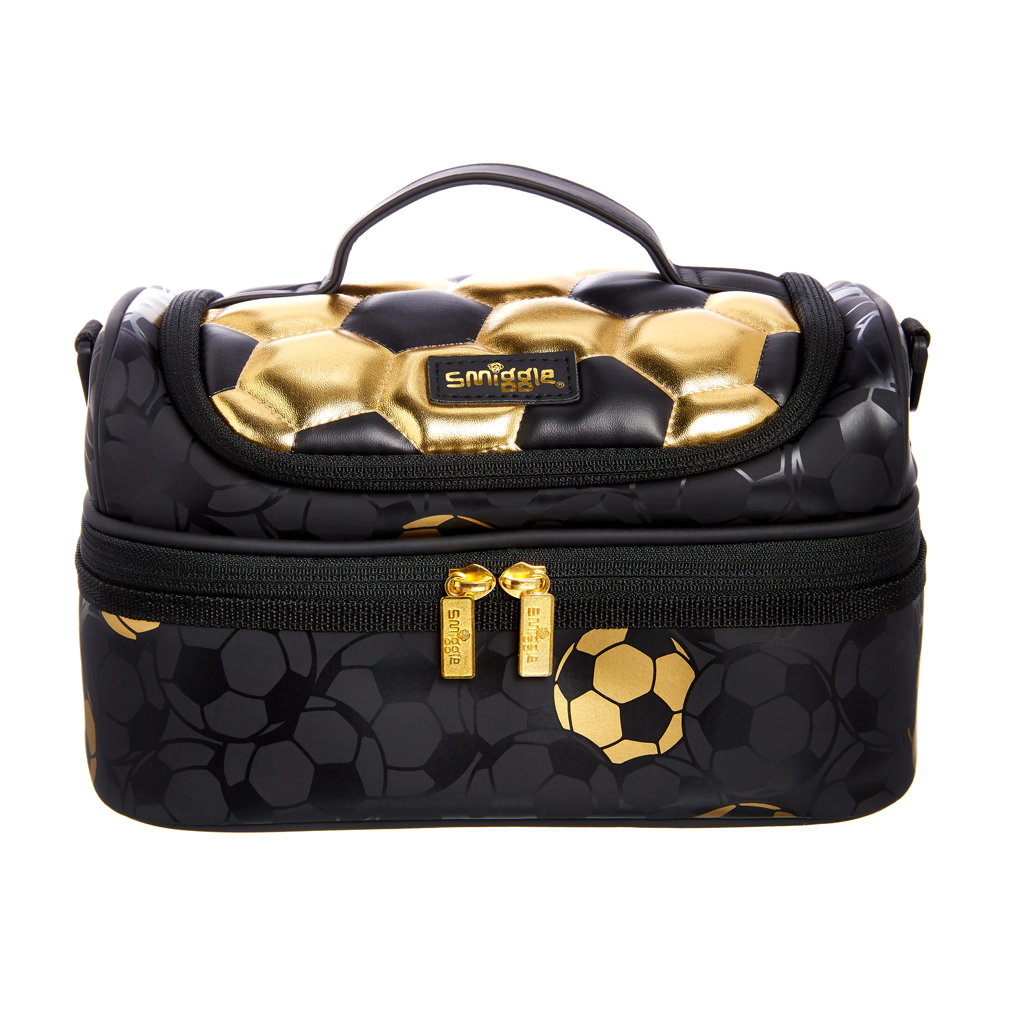 SMIGGLE - GOLD DOUBLE DECKER LUNCHBOX WITH STRAP GOLD BLACK - MyVaniteeCase