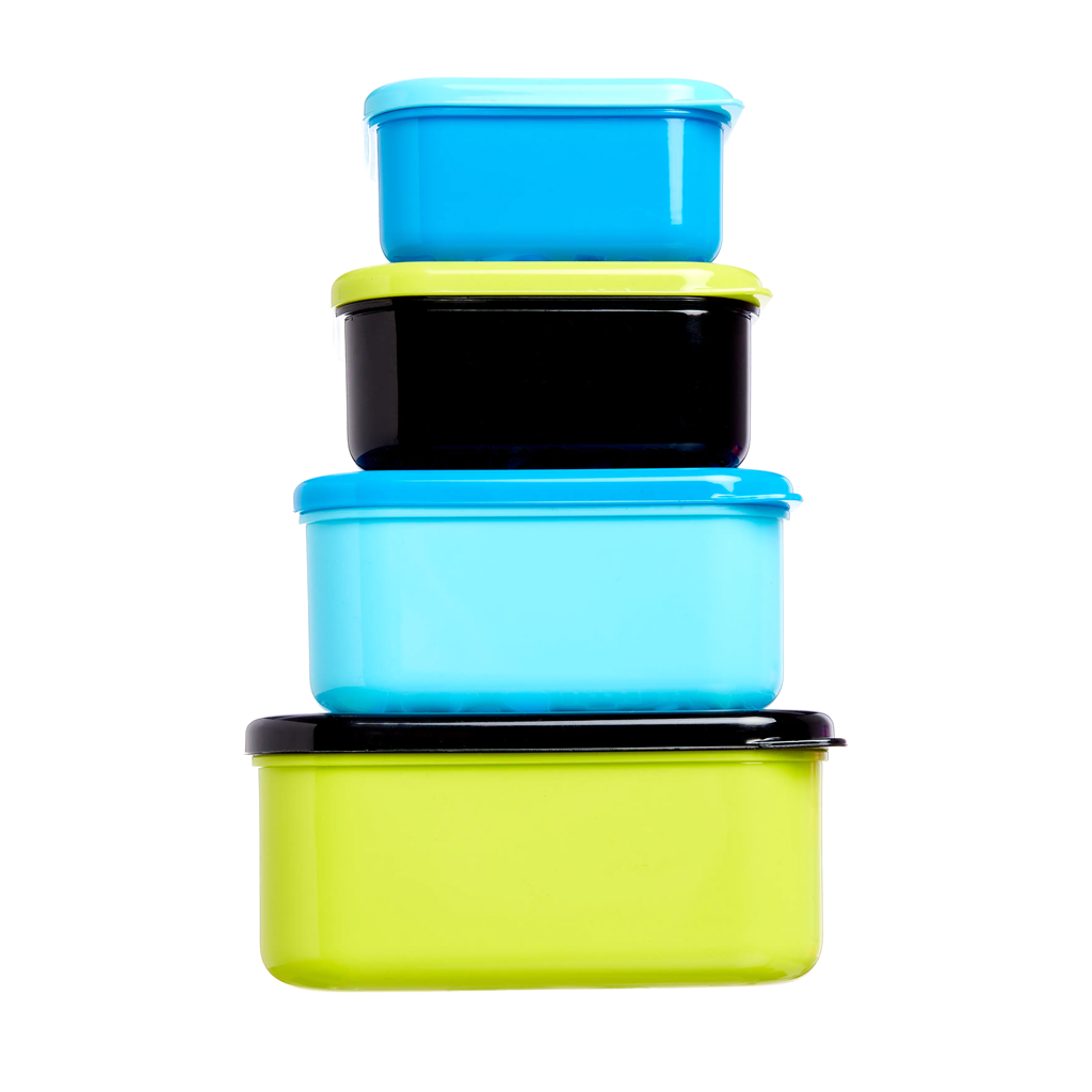 SMIGGLE - HAPPY SNACK N STACK CONTAINERS X4 BLACK - MyVaniteeCase
