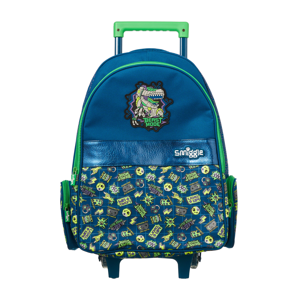 SMIGGLE - EXPRESS TROLLEY BACKPACK WITH LIGHT UP WHEELS NAVY