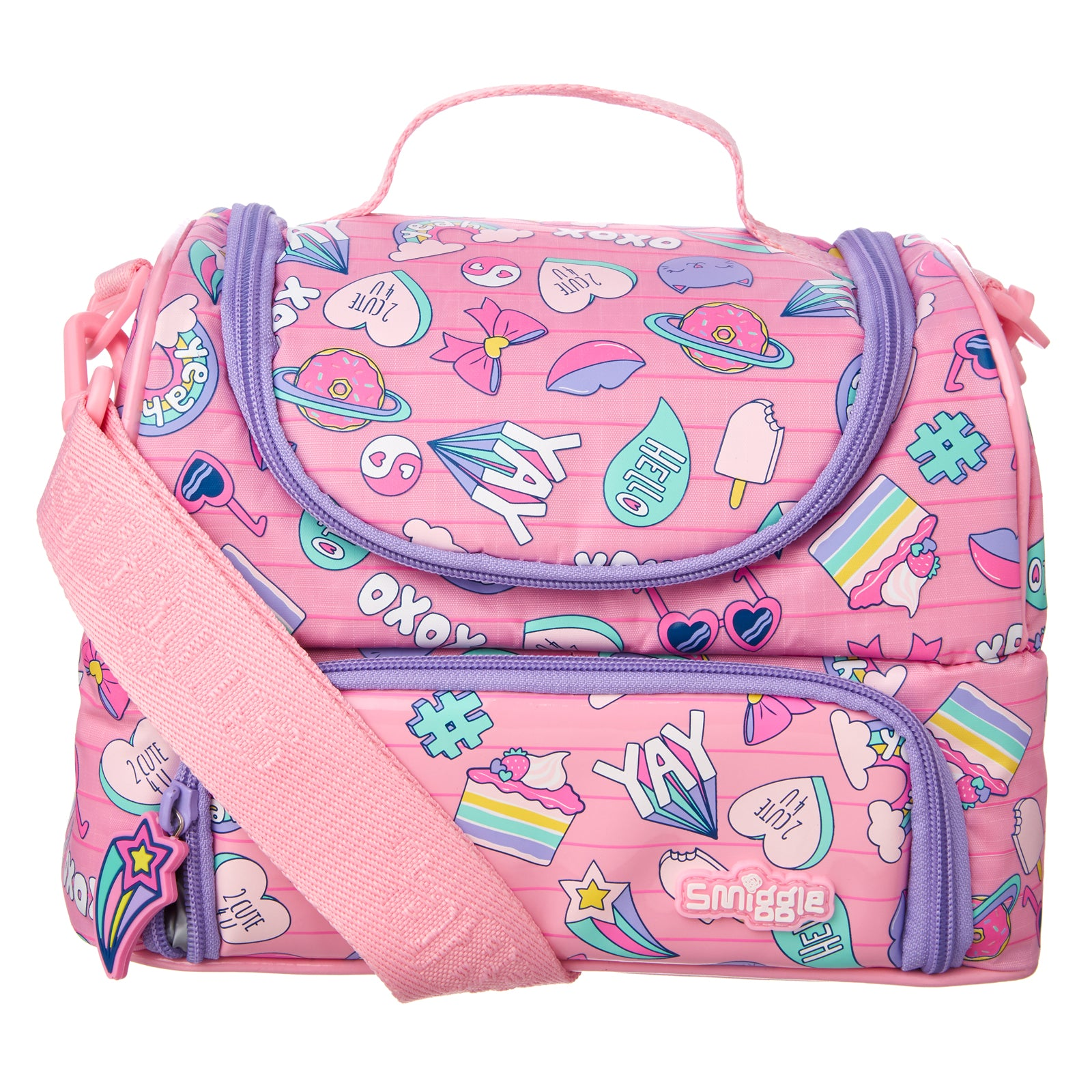 SMIGGLE - POPPIN DOUBLE STRAP LUNCHBOX PINK - MyVaniteeCase