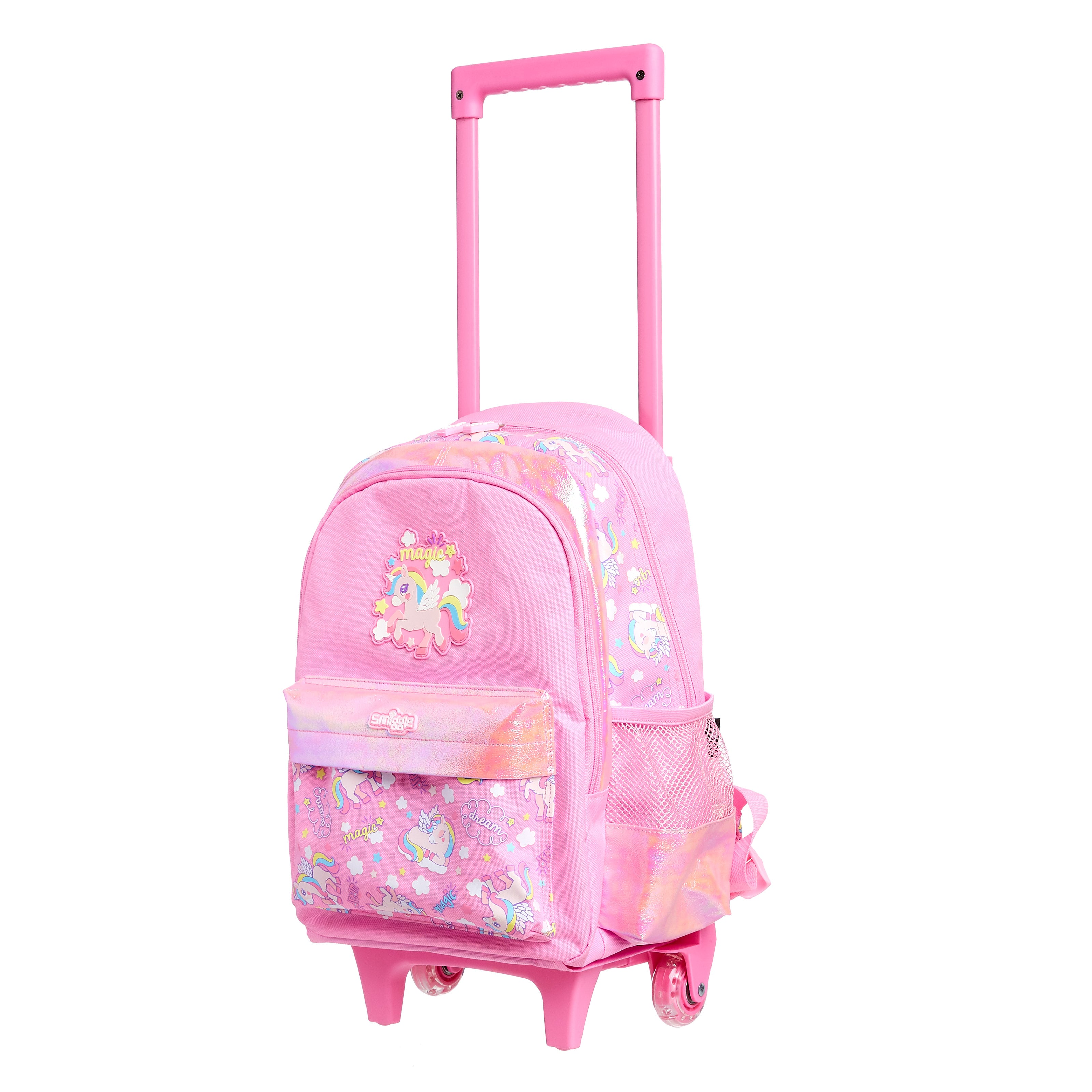 SMIGGLE - WONDER JUNIOR BACKPACK TROLLEY WITH LIGHT UP WHEELS PINK