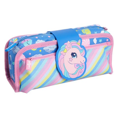 SMIGGLE - DEJA VU UTILITY PENCIL CASE CORN FLOWER BLUE