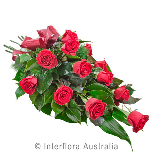 Passion Lillies Roses Wandin Florist Wedding Flowers Arrangement Bouquet Long Stem Roses White Lillies Seasonal Foliage Cellow Wrap Yarra Valley lilydale
