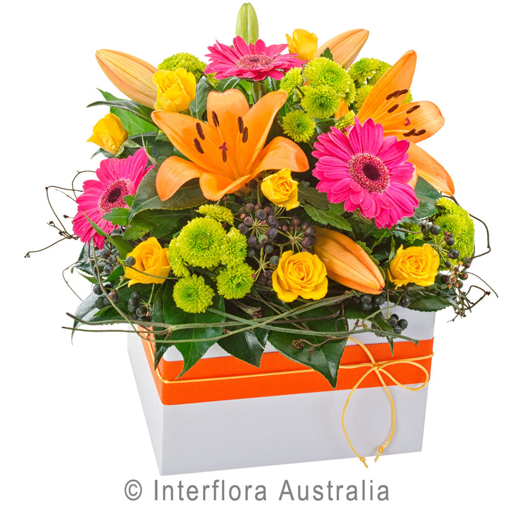 Fiesta Wandin Florist Wedding Flowers Mix Arrangements Pink Gerberas Orange Lillies Green Chrysanthemums Yellow Roses Seasonal Foliage Dodda Vine Yarra Valley Lilydale