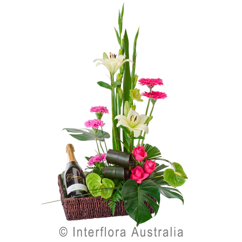 Twice as Nice Wandin Florist Yarra Vallay Flowers Lilydale Arrangements Gift & Wine Flowers in basket