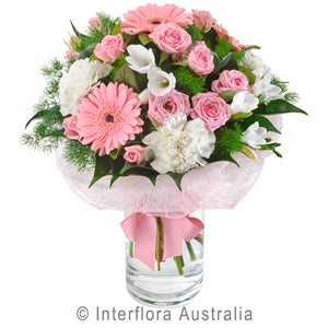 Bella Wandin Florist Wedding Flowers Pink Roses Gerberas White Feesias Carnations Foliage Flowers Arrangements Yarra Valley Lilydale Dandenong Ranges