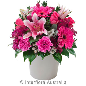 Berry Delight Wandin Florist Wedding Flowers Arrangements Pink Lillies Roses Carnations Berries Foliage Ceramic Pot Yarra Valley Lilydale