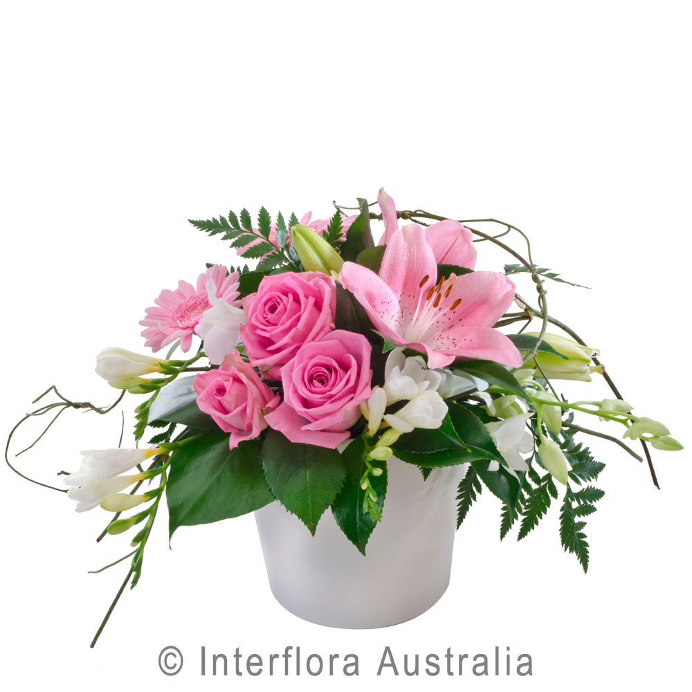 Blush Wandin Florist Wedding Flowers Pink Roses Asiatic Lillies White Freesias Leather Fern Gerberas Flowers Arrangement Yarra Valley Lilydale