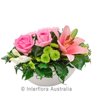 Hayley Wandin Florist Wedding Flowers Arrangement Pink Roses Asiatic Lillies Green Chrysanthemums White Freesias Seasonal Foliage Yarra Valley Lilydale Dandenong Ranges