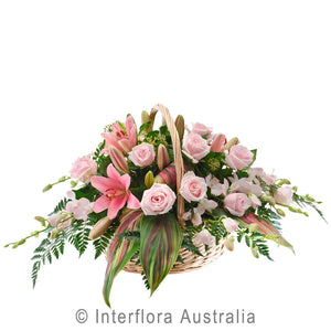 Cherish Wandin Florist Wedding Flowers Arrangement Basket Pink Roses Tropical Foliage Fern Asiatic Lillies White Orchids Yarra Valley Lilydale