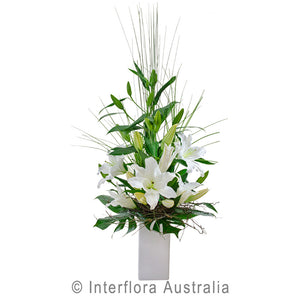 Tranquility Wandin Florist Wedding Flowers Arrangement in a Vase White Oriental Lillies in Ceramic COntainer Yarra Valley Lilydale Dandenong Ranges