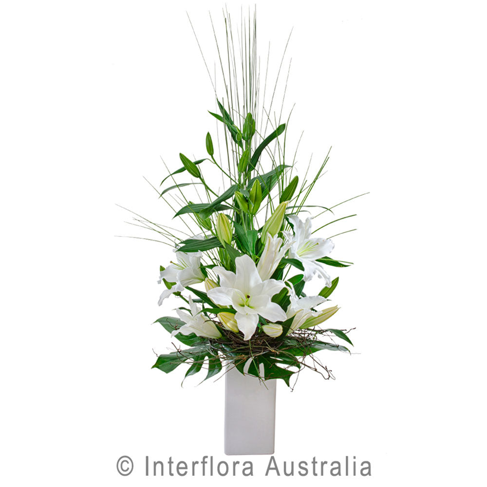 Tranquility Wandin Florist Flowers Arrangement in a Vase White Oriental Lillies in Ceramic COntainer Yarra Valley Lilydale