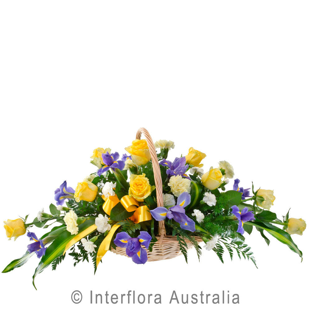 Thoughts of You Wandin Florist Flowers Arrangement Yellow Purple Roses Blue Iris Carnations Torpical Leaves Ferns Seasonal Foliage Yarra Valley Lilydale Dandenong Ranges
