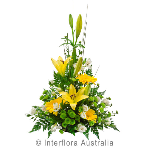 Unforgettable Wandin Florist Wedding Flowers Arrangement Yellow Asiatic Lillies Green Chrysanthemums Fern Gerberas Seasonal Foliage Yarra Valley Lilydale Dandenong Ranges