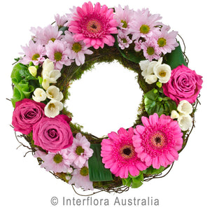 Contemplation Wandin Florist Pink Chrysanthemums Gerberas Roses Tropical Leaves Dodda Vine Flowers Yarra Valley Lilydale