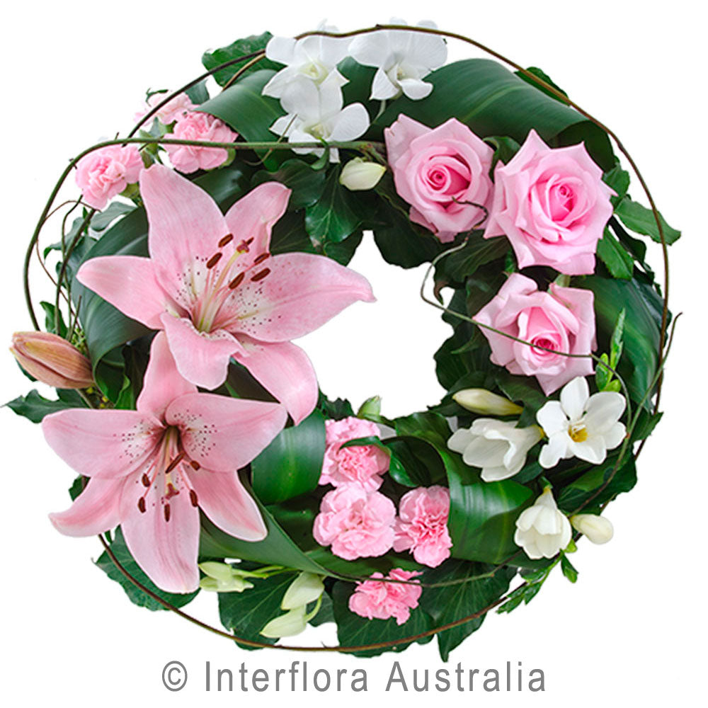 Comforting Embrace Wandin Florist Asiatic Lillies Pink Roses Freesias Orchids Carnations Dodda Vine Flowers Yarra Valley Lilydale