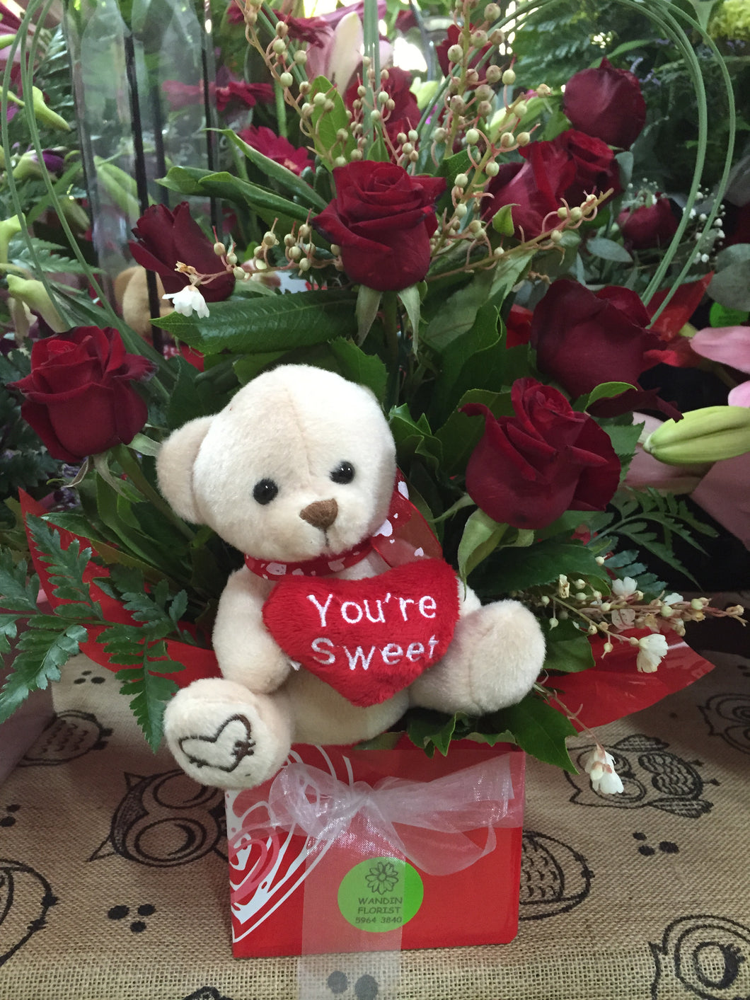Bear Roses Wandin Florist Gift for Children Dolls Yarra Valley Lilydale