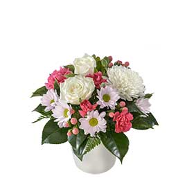 Breanna Wandin Florist Wedding Flowers White Disc Buds Chrysanthemums Pink Carnations Berries Magnolia White Roses Yarra Valley Lilydale