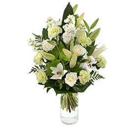 Cloud Wandin Florist Wedding Flowers Arrangements Sympathy Oriental Lillies White Roses Carnations Foliage Yarra Valley Lilydale Dandenong Ranges