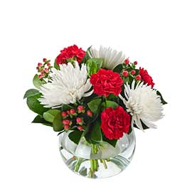 Good Tidings Wandin Florist Fishbowl Seasonal Disc Buds Berries Christmas Wedding Flowers Arrangements Yarra Valley Lilydale