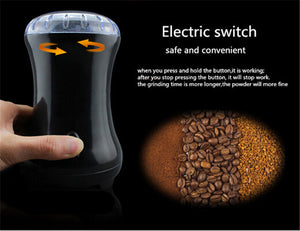 Electric Coffee Spice Grinder Maker with Stainless Steel Blades Beans Mill Herbs   Cafe Home Use