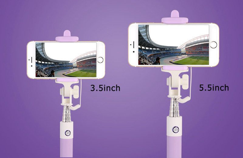 Selfie Stick With Button Wired Silicone Handle