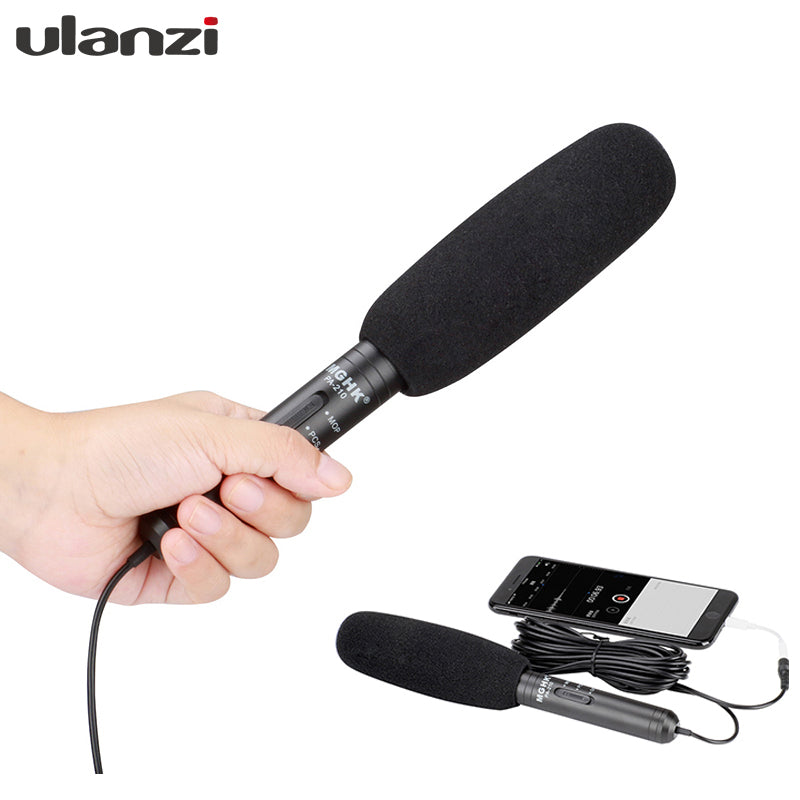 2 in 1 Phone Interview Shotgun Microphone Directional Camera Recording Video Mic for iPhone Samsung Nikon Canon
