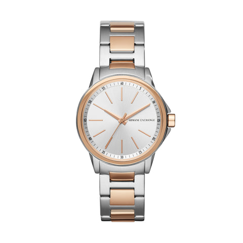 Armani Exchange Ladies Silver Sunray Dial Watch