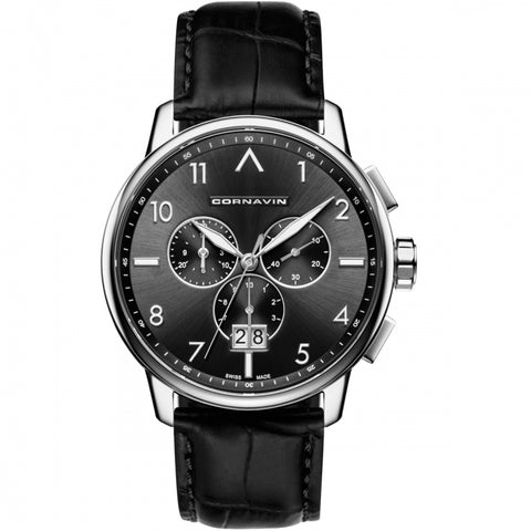 Cornavin Gents Black Dial Watch