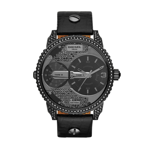 Diesel IP Black Steel With Crystals Case Ladies Watch