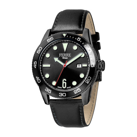 FERRE MILANO GENTS BLACK DIAL BLACK LEATHER WATCH