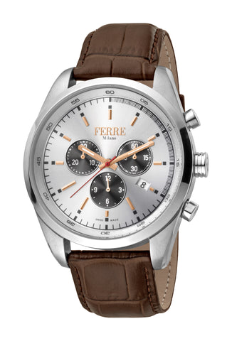 FERRE MILANO WATCH GENTS SILVER DIAL LEATHER